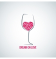 wine glass love heart concept design background vector image vector image