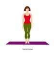 woman in tadasana or mountain yoga pose vector image vector image