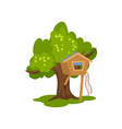 wooden treehouse hut on tree with ladder for kids vector image vector image