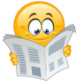emoticon with newspaper vector image