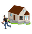 man thief robbed house home insurance vector image