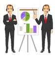 businessman standing near flip board vector image
