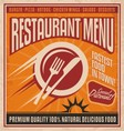 Retro poster template for fast food restaurant vector image
