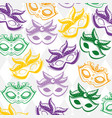 mardi gras mask seamless pattern background vector image