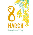 8 march greeting card template with holiday wish vector image vector image
