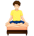 A man doing yoga in his bed vector image vector image