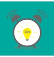 Alarm clock with yellow idea light bulb icon Flat vector image vector image