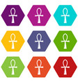 ancient egyptian cross ankh icons set 9 vector image vector image