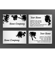 Black and white business card with inkblots vector image vector image