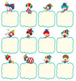 border template with clowns in different actions vector image vector image