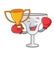 boxing winner margarita glass mascot cartoon vector image