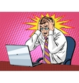 Businessman working on laptop bad news panic vector image vector image