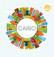 cairo egypt city skyline with color buildings vector image vector image