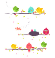 colorful Birds on beautiful trees vector image vector image