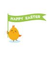 cute little chick with happy easter sign vector image vector image