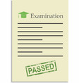Examination paper with passed stamp vector image