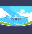 flat aircraft takes off on blue sky background vector image vector image