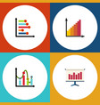 flat icon diagram set of monitoring graph chart vector image vector image