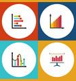 flat icon diagram set of monitoring graph chart vector image vector image