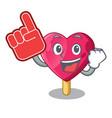 foam finger the shaped heart ice cream mascot vector image vector image
