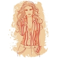 Girl in a business suit with long hairs vector image