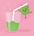 glass with juice apple fresh fruit kawaii vector image vector image