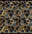 gold 3d baroque seamless pattern floral vintage vector image