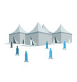 hajj pilgrimage silhouette around mina tents vector image vector image