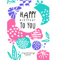 happy birthday to you original design poster vector image vector image