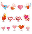 hearts icons set of love signs vector image