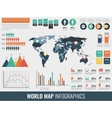 Infographic Elements with world map and charts vector image vector image