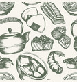 japanese food - vintage hand drawn seamless vector image vector image
