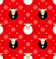 Red seamless pattern with cute goat and snowflakes vector image