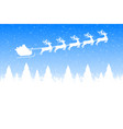 santa claus is flying with a reindeer team vector image