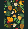 seamless pattern with exotic fruits flowers vector image vector image