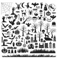 set halloween silhouettes icon and characters vector image