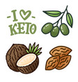 sketch lettering with green keto diet doodle vector image