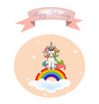 unicorn sitting on a cloud with a rainbow with co vector image