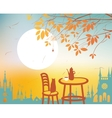 Urban autumn landscape with a street cafe vector image