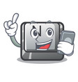 with phone button n on a game character vector image