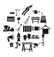 working mechanism icons set simple style vector image