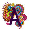 hand drawn doodling alphabet vector image