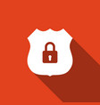 shield security icon isolated with long shadow vector image
