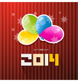 Happy New Year 2014 Title with Colorful Balloons vector image