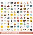 100 film award icons set flat style vector image vector image