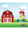 A little girl in the barn vector image vector image