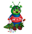 alien in sweater holding christmas tree new year vector image