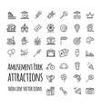 amusement park attraction icons set vector image vector image