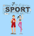 athletes with sport icons on blue background vector image