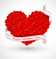 Big heart with ribbon vector image vector image